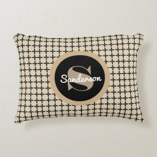 Classic Black & Beige Pattern w/Mongram Decorative Cushion