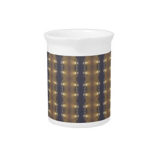 Classic Black Brown Gold Stripes and Squares Beverage Pitcher
