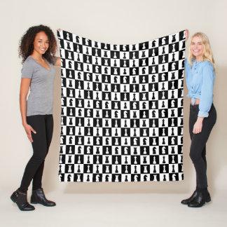 Classic Black Chess Game Figures Pattern Fleece Blanket