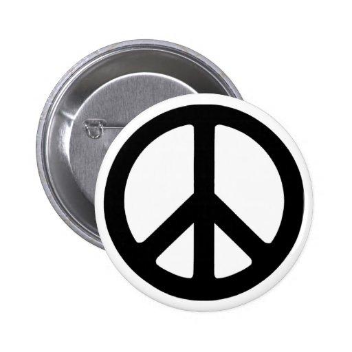 Classic Black Groovy Peace Symbol 6 Cm Round Badge