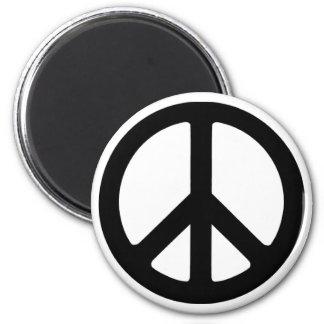 Classic Black Groovy Peace Symbol 6 Cm Round Magnet