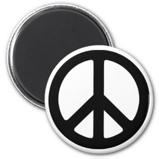 Classic Black Groovy Peace Symbol Refrigerator Magnet