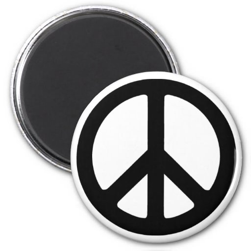 Classic Black Groovy Peace Symbol Refrigerator Magnet