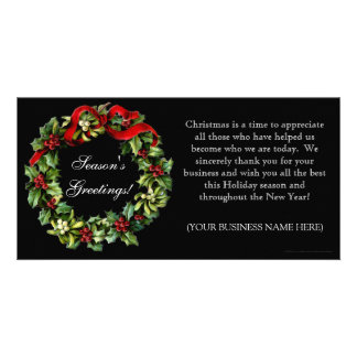 Classic Black Holly Wreath Imprinted Flat Cards Personalised Photo Card