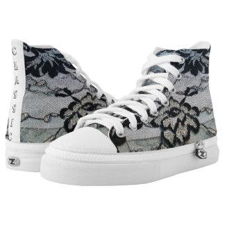 Classic Black lace Sneakers,Ladies High shoes Printed Shoes