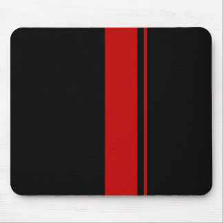 Classic Black & RED Race Car Stripes Mouse Pad