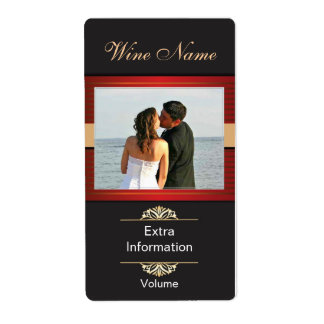 Classic Black Red Wine Label With Kisses Shipping Label