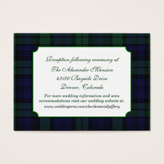 Classic Black Watch Plaid Wedding Enclosure Card