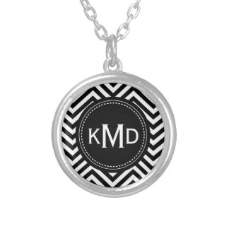 Classic Black White Chevron Trio Monogram Custom Jewelry