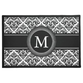 Classic Black White Damask Floral Pattern Monogram Doormat