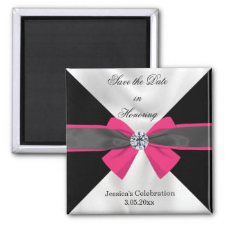 Classic Black & White Drapery with Magenta Bow Square Magnet