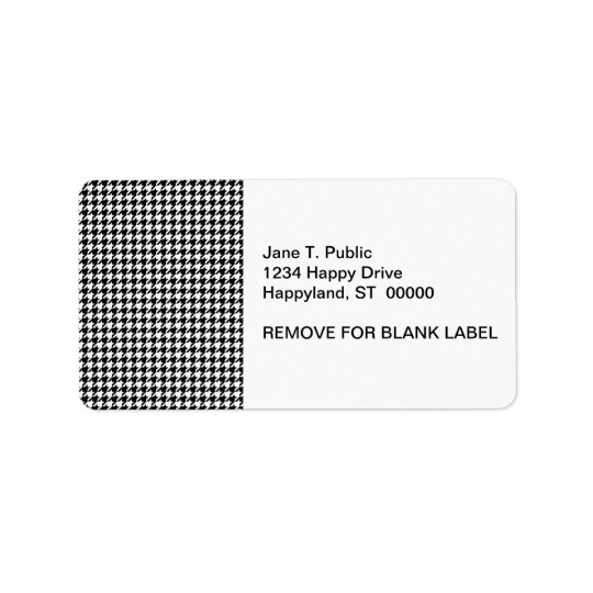 Classic Black White Houndstooth Address Label