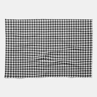 Classic Black White Houndstooth Hand Towel