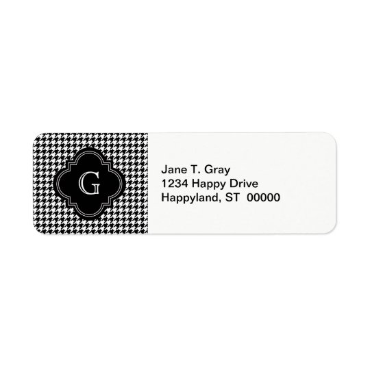 Classic Black White Houndstooth With Monogram Return Address Label