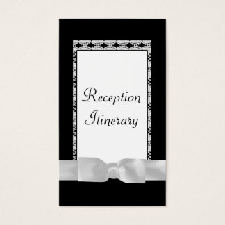 Classic Black & White Lace With Bow Business Card