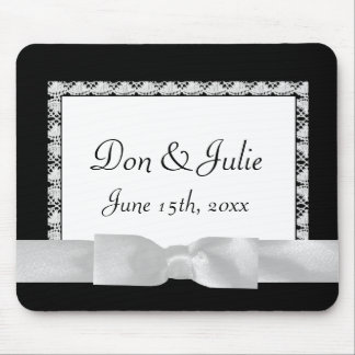 Classic Black & White Lace With Bow Mouse Pad