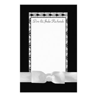 Classic Black & White Lace With Bow Personalized Stationery