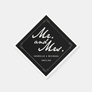 Classic Black & White Mr & Mrs Wedding Napkins Paper Napkin