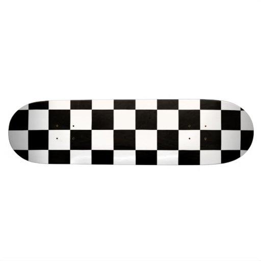 Classic Black White Retro Checkerboard Pattern Skate Boards