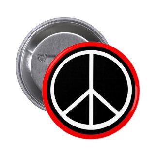 Classic Black White Retro Peace Sign 6 Cm Round Badge
