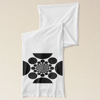 Classic Black White Round Motif accenting White Scarf