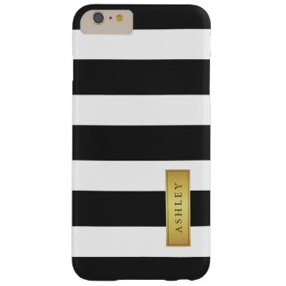 Classic Black White Stripe Pattern Gold Label Name Barely There iPhone 6 Plus Case