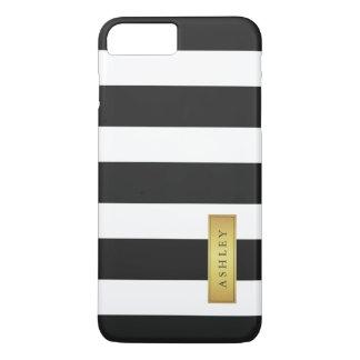 Classic Black White Stripe Pattern Gold Label Name iPhone 7 Plus Case