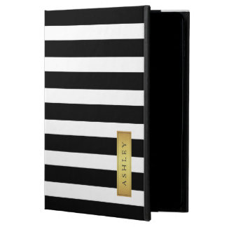 Classic Black White Stripe Pattern Gold Label Name Powis iPad Air 2 Case