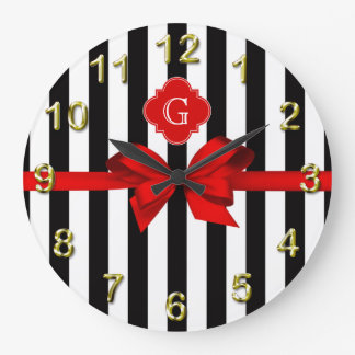 Classic Black White Stripe, Red Label, Bow Ribbon Wall Clock