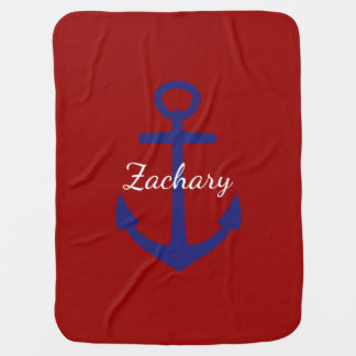Classic Blue Anchor on Red Personalized Swaddle Blankets