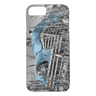 Classic Blue Car Black and White Field iPhone 7 Case