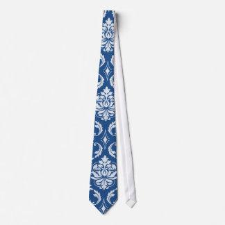 Classic Blue Damask Pattern Tie