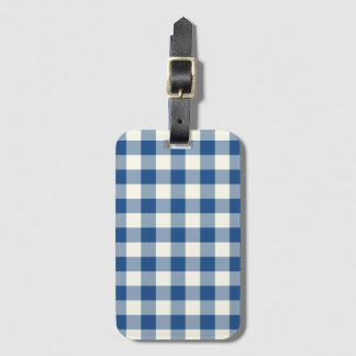 Classic Blue Gingham Baggage Labels Luggage Tags