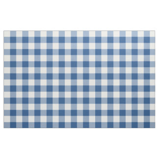 Classic Blue Gingham Pattern Fabric