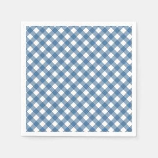 Classic Blue Gingham Pattern Disposable Serviettes