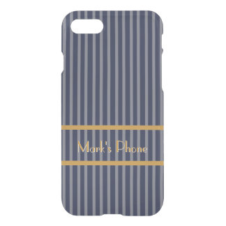 Classic Blue Pinstripes Gold Lettering iPhone 8/7 Case