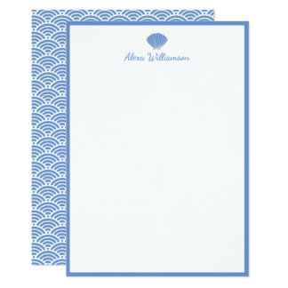 Classic Blue Seashell Personalized Stationery Card
