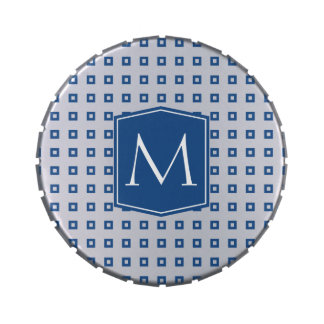 Classic Blue Square Pattern Monogram Customizable Candy Tins