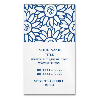Classic Blue Sunflower Pattern Magnetic Business Card