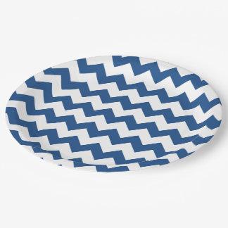 Classic Blue White Chevron Pattern 9 Inch Paper Plate
