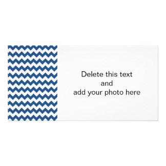 Classic Blue White Chevron Pattern Photo Card