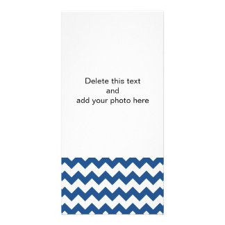 Classic Blue White Chevron Pattern Photo Greeting Card