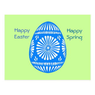 Classic Blue White Stenciled Easter Egg Postcard