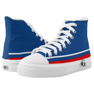 Classic Blue with White and Red Trim Zipz Hi-Top Printed Shoes