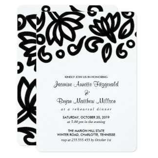 Classic Bold Floral Pattern Rehearsal Dinner Card