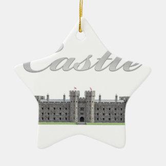 Classic British Castle with Castle Text Ceramic Ornament