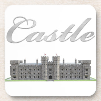 Classic British Castle with Castle Text Coaster
