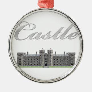 Classic British Castle with Castle Text Metal Ornament