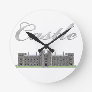 Classic British Castle with Castle Text Round Clock