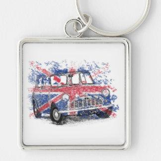 Classic British Mini Silver-Colored Square Key Ring